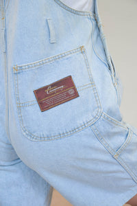 Vintage 90s Dungaree Shorts in Light Blue Wash in S