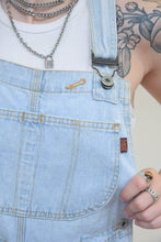 Load image into Gallery viewer, Vintage 90s Dungaree Shorts in Light Blue Wash in S
