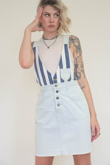 Vintage 90s Dungaree Skirt in Light Blue Wash with Stripes in XS/S