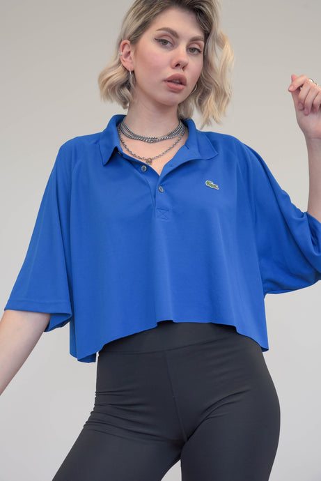 Vintage Reworked Lacoste Crop Top Polo Shirt in Blue in M