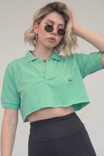Load image into Gallery viewer, Vintage Reworked Lacoste Crop Top Polo Shirt in Green in S