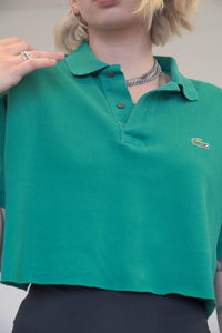 Vintage Reworked Lacoste Crop Top Polo Shirt in Green in S