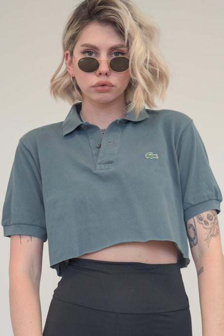 Vintage Reworked Lacoste Crop Top Polo Shirt in Grey in S