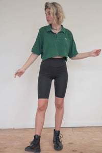 Vintage Reworked Lacoste Crop Top Polo Shirt in Green in M