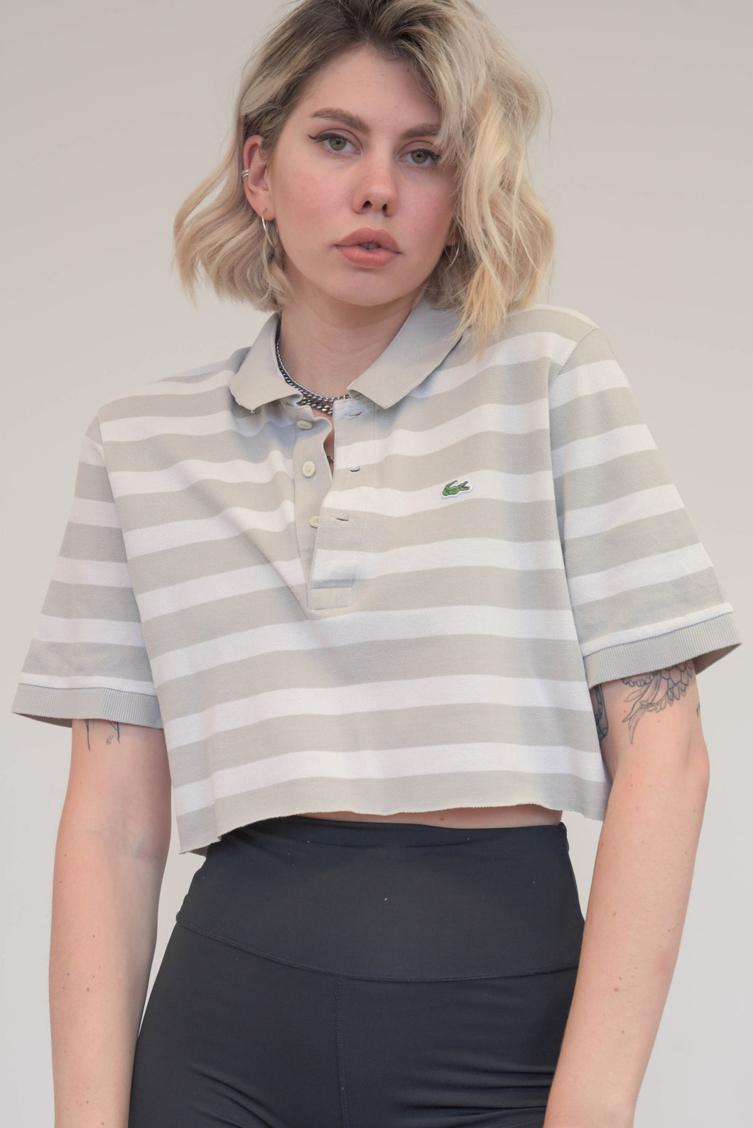 Vintage Reworked Lacoste Crop Top Polo Shirt in White Grey Striped in S
