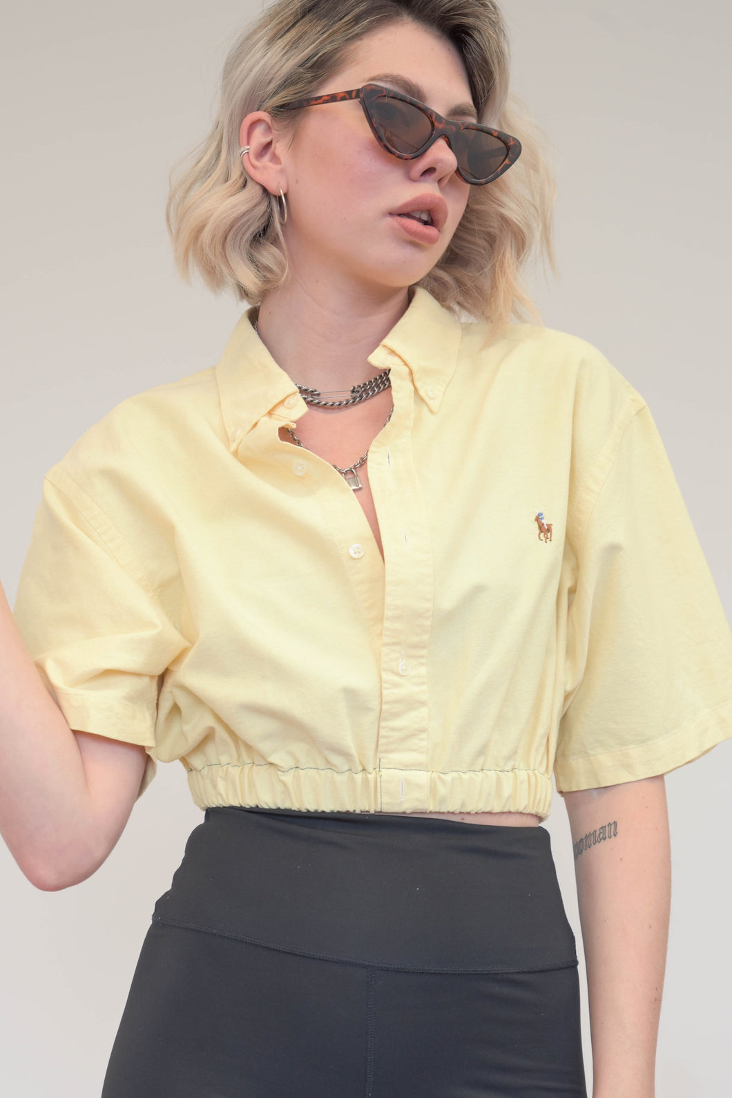 Vintage Reworked Ralph Lauren Crop Top Shirt in Yellow in S