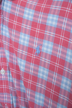 Load image into Gallery viewer, Vintage Reworked Ralph Lauren Crop Top Shirt in Red Blue Checked in S