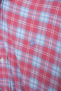 Vintage Reworked Ralph Lauren Crop Top Shirt in Red Blue Checked in S