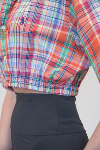 Vintage Reworked Ralph Lauren Crop Top Shirt in Red Blue Green Checked in S