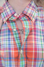 Load image into Gallery viewer, Vintage Reworked Ralph Lauren Crop Top Shirt in Red Blue Green Checked in S