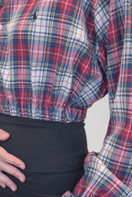 Load image into Gallery viewer, Vintage Reworked Ralph Lauren Crop Top Shirt in Red Grey Checked in S