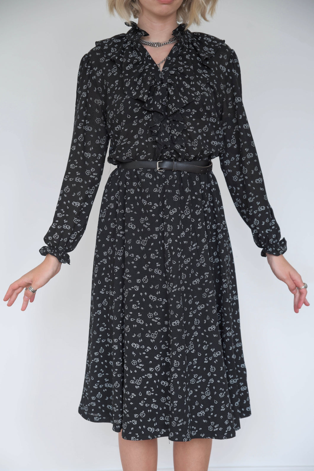 Vintage 70s Dress Midi in Black with Tiny White Flowers in S