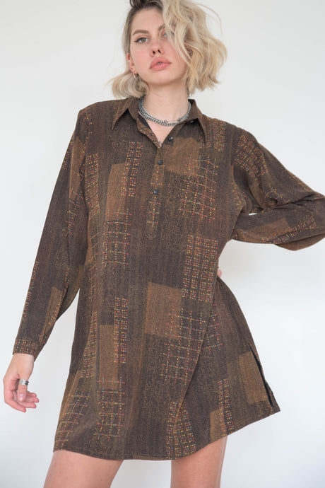 Vintage 60s Dress Mini in Brown Geometrical Pattern in S