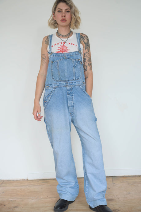Vintage 90s Dungarees Denim in Light Blue Wash in M/L