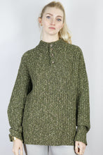 Load image into Gallery viewer, Vintage 1/4 Zip Knit Sweater in Green in Size M/L