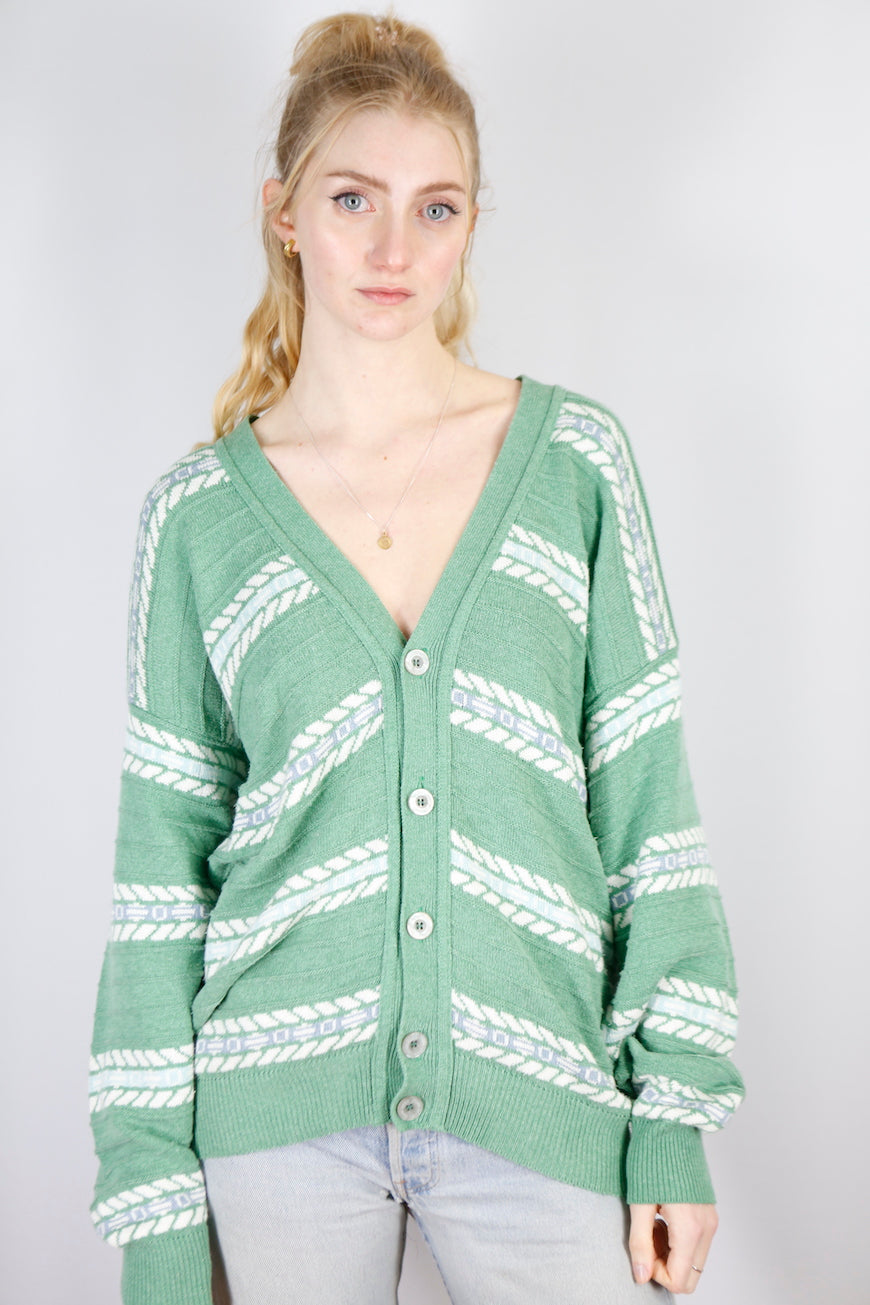 Vintage Knit Cardigan in Green in Size L