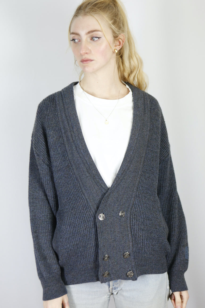 Vintage Knit Cardigan in Grey in Size S/M
