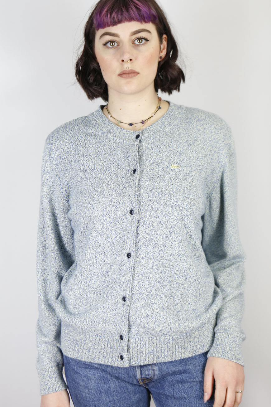 Vintage Lacoste Knit Cardigan in Light Blue in Size S/M