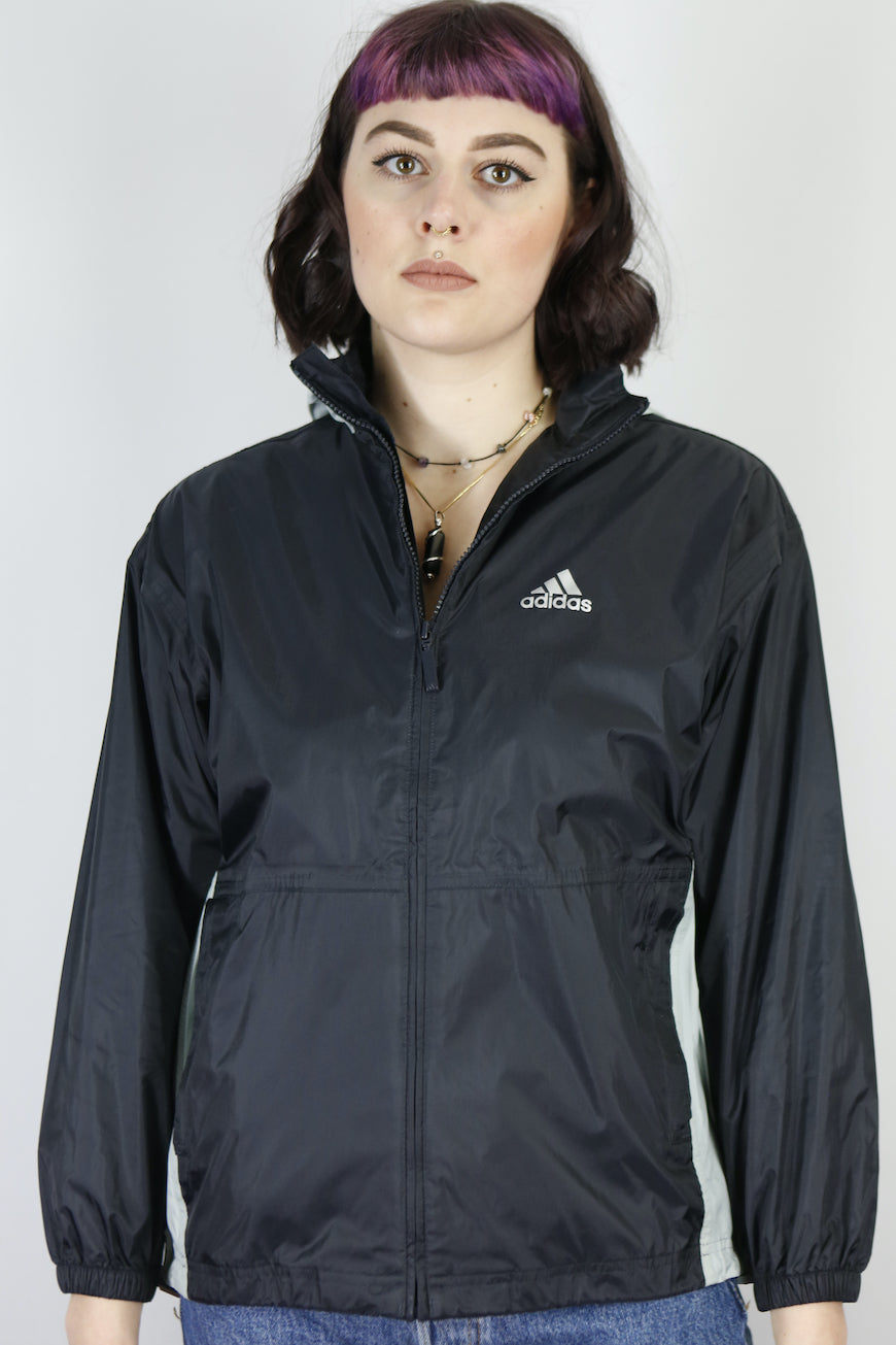 Vintage Adidas Shell Jacket Windbreaker in Black in Size XS