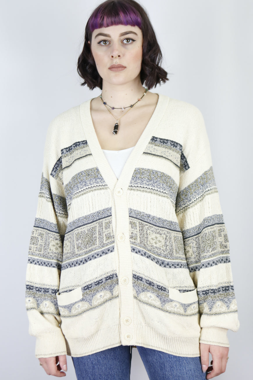 Vintage Knit Cardigan in Off White in Size M/L