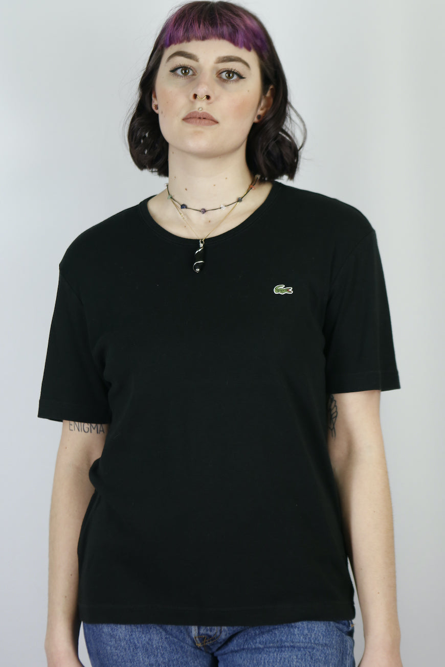 Vintage Lacoste T-Shirt in Black in Size S