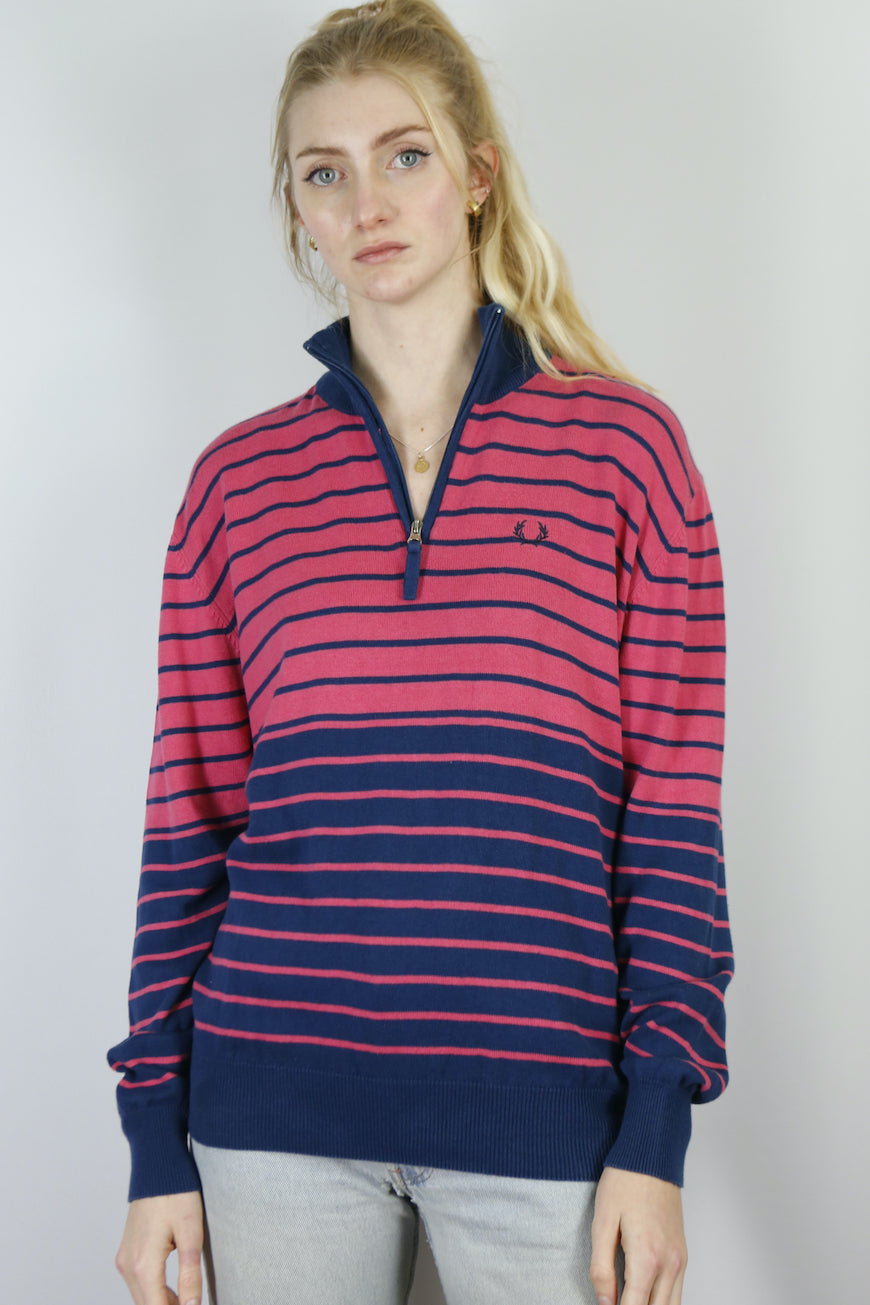 Vintage Fred Perry 1/4 Zip Knit Sweater in Pink in Size M