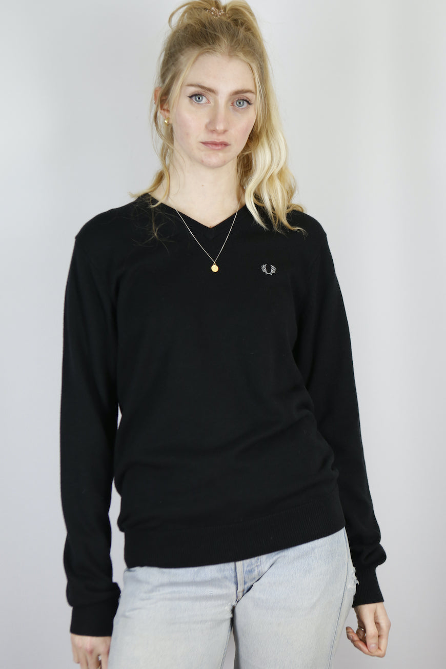 Vintage Fred Perry Knit Sweater in Black in Size S