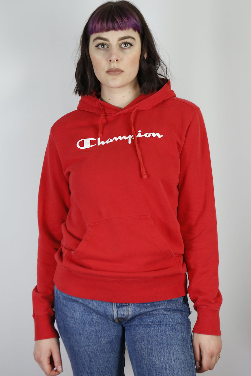 Vintage Champion Sweatshirt Hoodie in Red in Size S/M