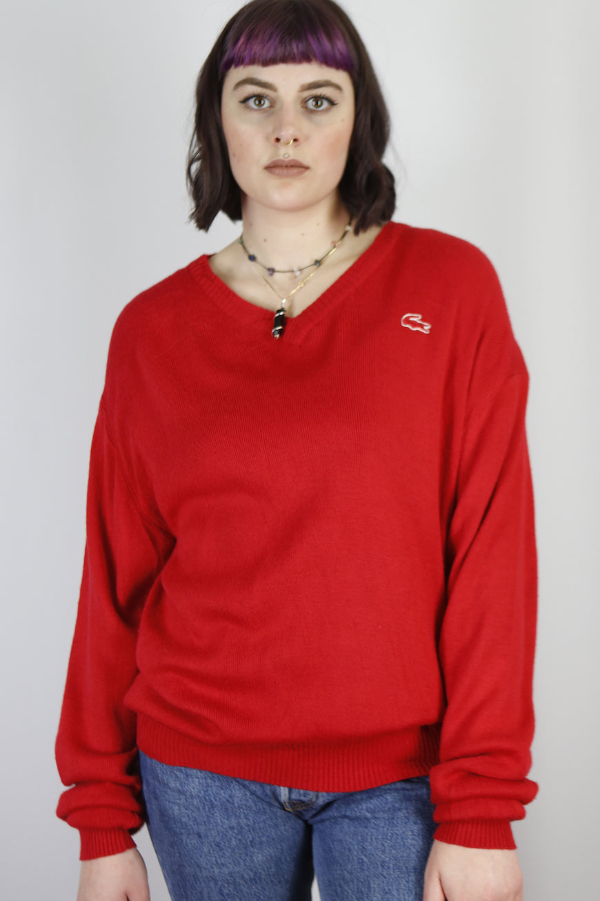 Vintage Lacoste Knit Sweater in Red in Size L
