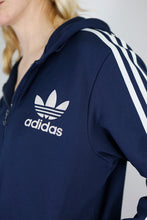 Load image into Gallery viewer, Vintage Adidas Track Jacket Hoodie in Blue in Size S