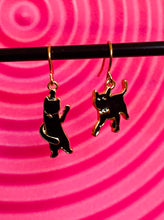 Load image into Gallery viewer, Vintage Inspired Earrings Cats in Black with Gold Detail