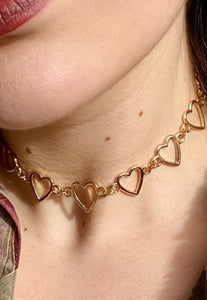 Heart Choker Necklace in Gold Colour