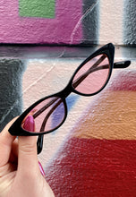 Load image into Gallery viewer, Vintage Inspired Sunglasses Cat Eye Shaped with Pink UV400 Glass and Black Frame