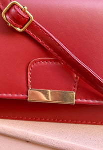 Vintage Inspired 90s Bag Cross Body in Red Faux Leather