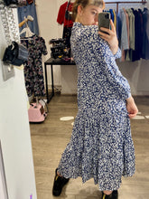 Load image into Gallery viewer, Vintage Inspired Maxi Dress with Floral Print in Dark Blue Sizes S-XL