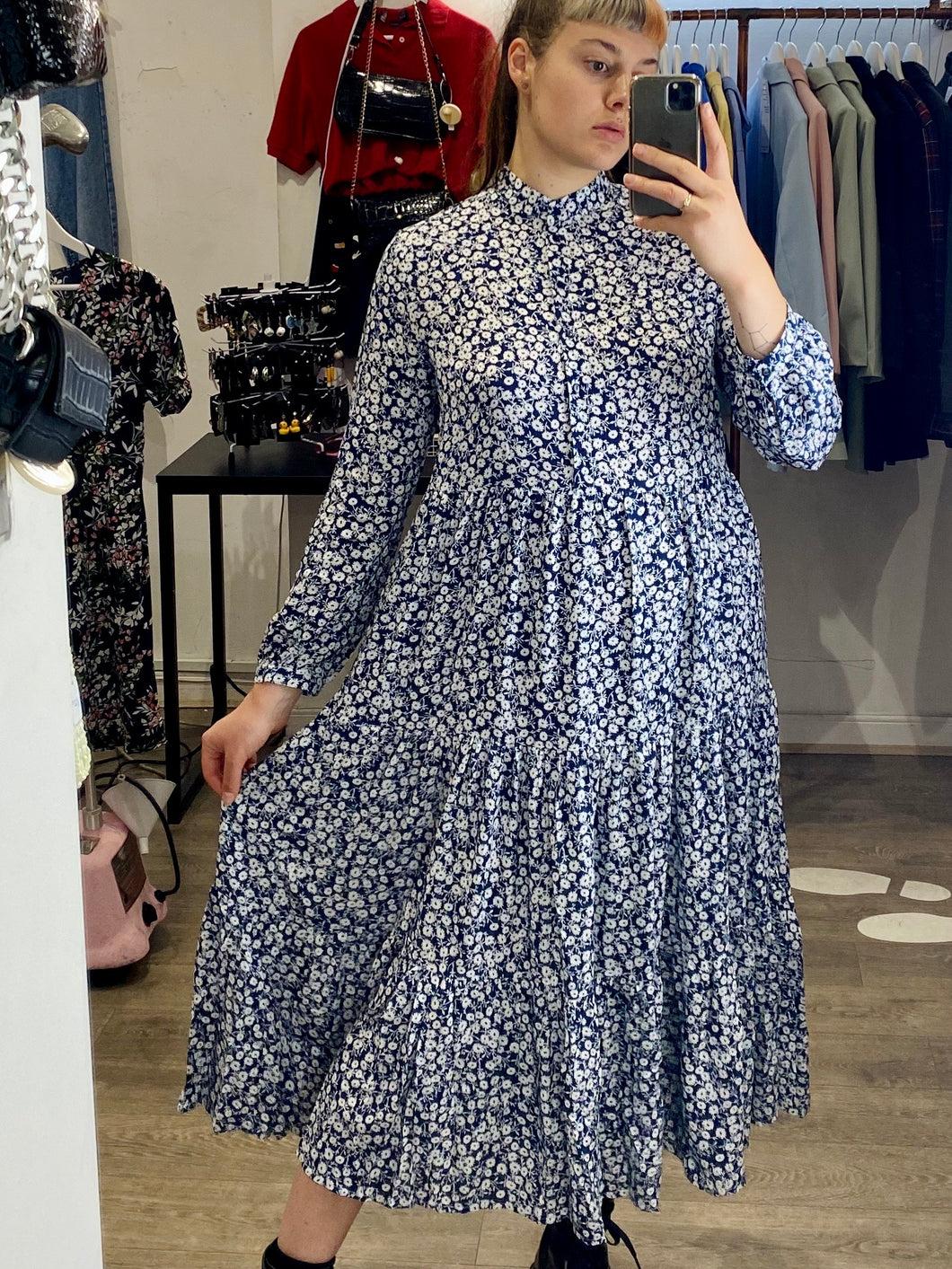 Vintage Inspired Maxi Dress with Floral Print in Dark Blue Sizes S-XL