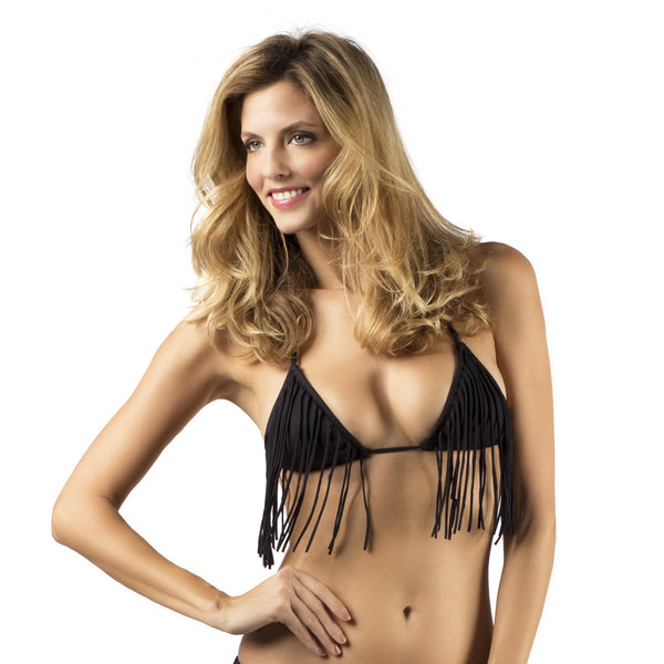 The Brie Triangle Fringe Bikini Top Front
