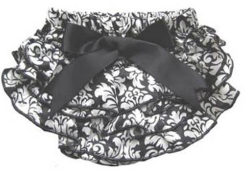 Black & White Damask Satin Bloomers