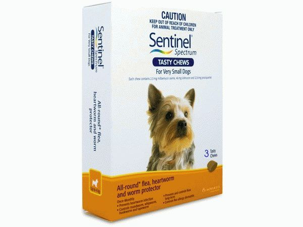 SENTINEL SPECTRUM TASTY CHEWS VERY SMALL DOGS TO 4KG - 3pk