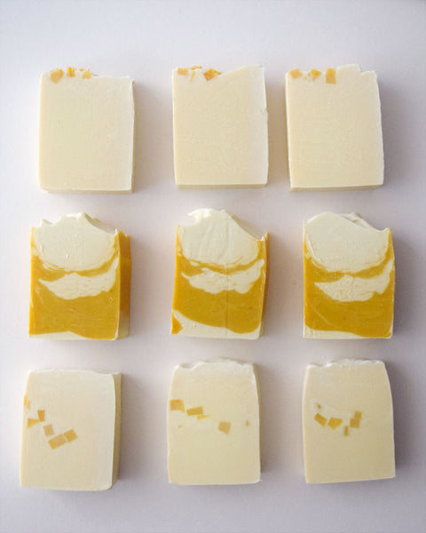 Cold process soap with lemon essential oil