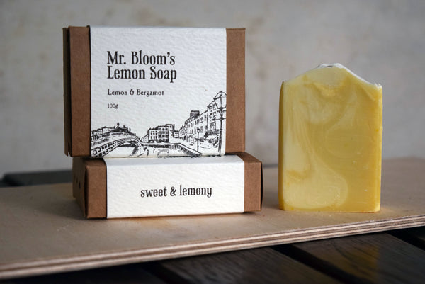 Cold process lemon soap with essential oils, inspired by James Joyce