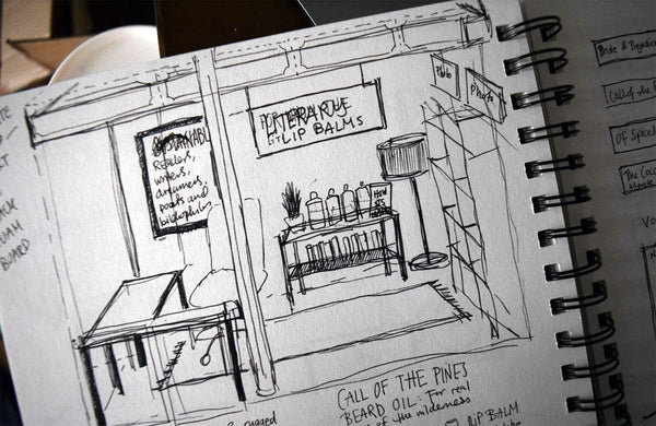 Booth design sketch for craft market