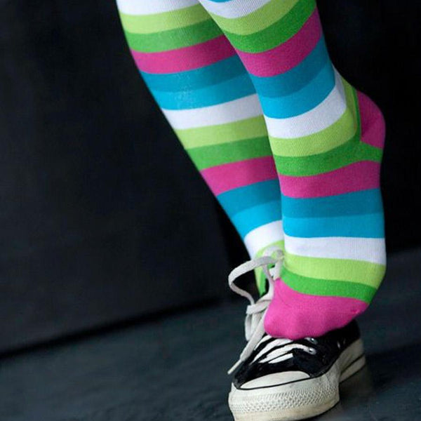 Bright Stripes Knee Socks - socks by Literary Lip Balms