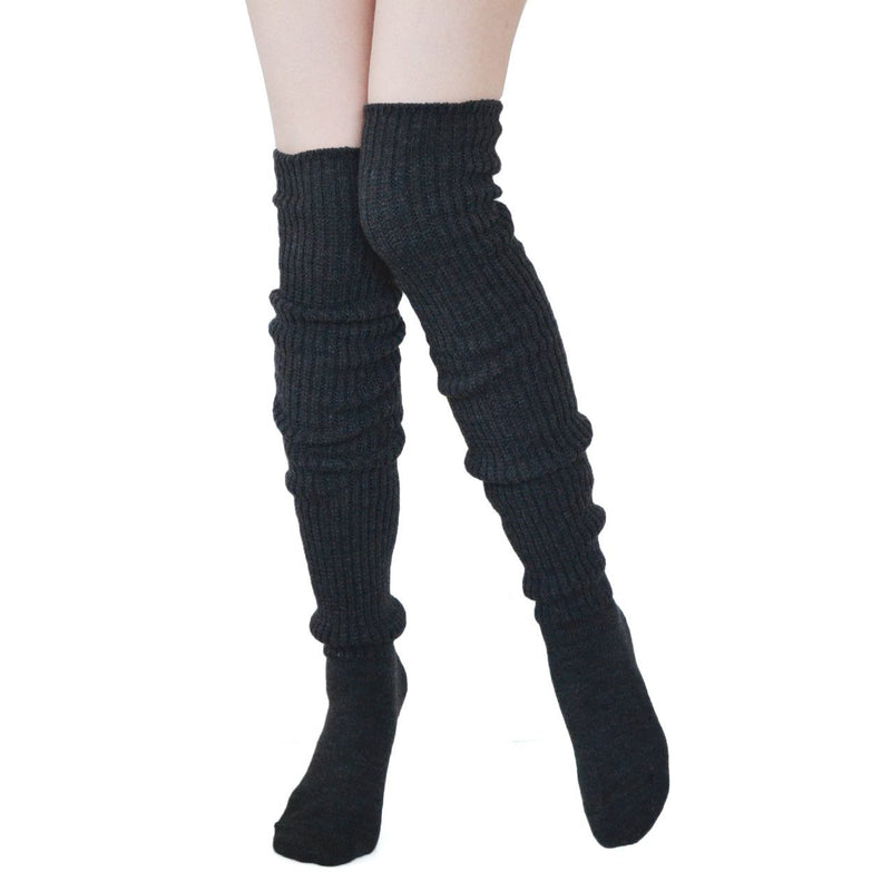 Comfy Over The Knee Socks - Charcoal - socks by Literary Lip Balms