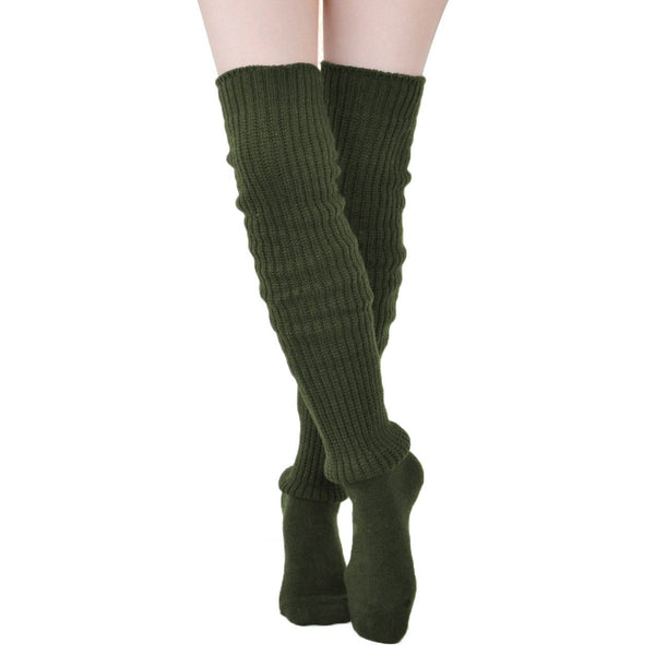 Comfy Over The Knee Socks - Olive - socks by Literary Lip Balms