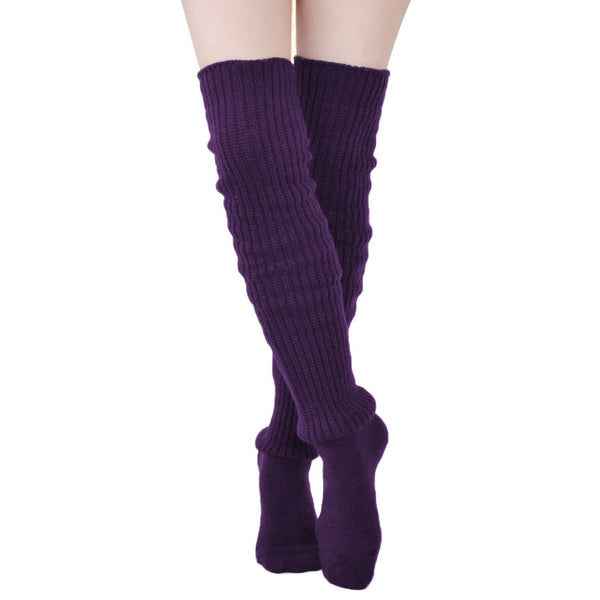 Comfy Over The Knee Socks - Purple - socks by Literary Lip Balms
