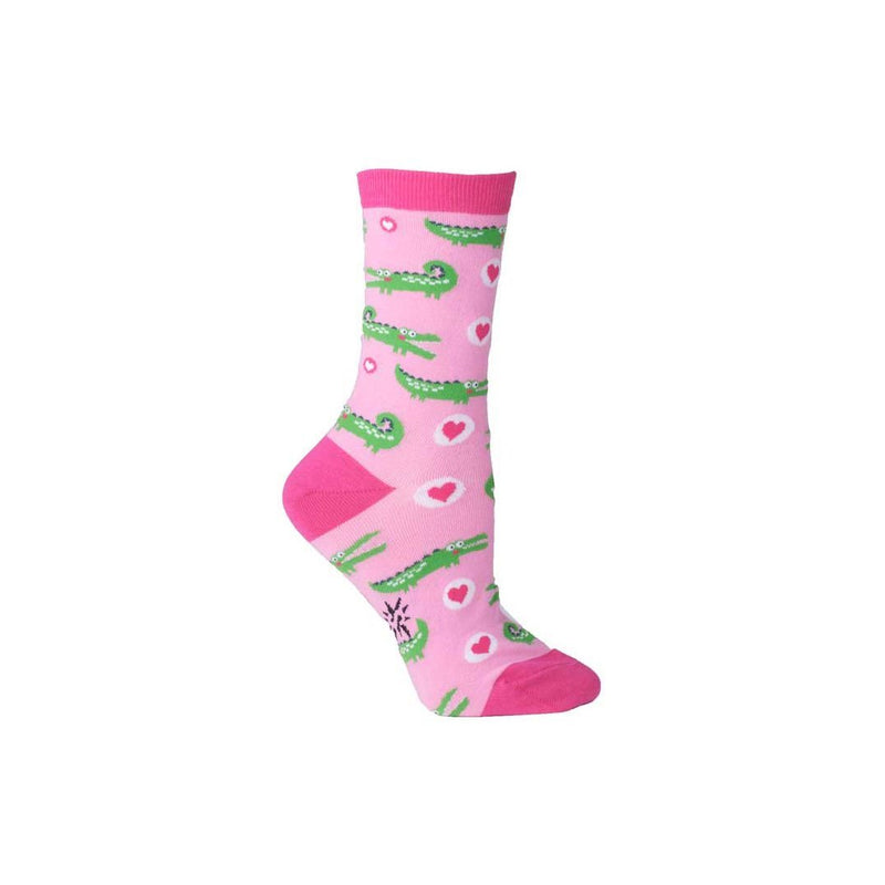 Pink Alligator Crew Socks - socks by Literary Lip Balms