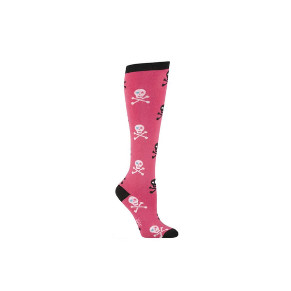 Pink Skull Knee Socks - socks by Literary Lip Balms
