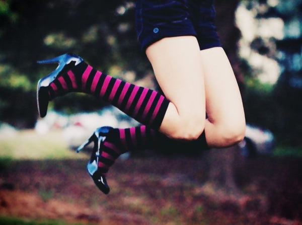 Sassy Stripes Knee Socks - socks by Literary Lip Balms