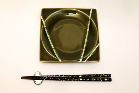 Small Square Plate - Gold Bamboo Nodes